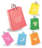 Six shopping bags. Royalty Free Stock Images