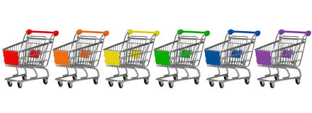 Six shopping carts Royalty Free Stock Images
