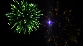 Six shots of fireworks on the black background stock video footage