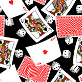 Six sided dice and blackjack cards seamless pattern Stock Photos