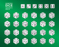 Six sided Isometric Dice. Vector illustration of white cubes with black pips in all possible turns on green checkered background. Casino symbol Royalty Free Stock Photography