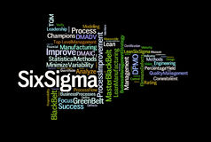 Six Sigma. A cloud of words and terms relating to the modern business process called Six Sigma vector illustration