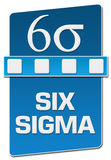 Six Sigma Blue Separator Vertical. Six sigma text with related symbol written over blue background vector illustration