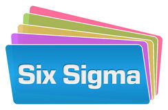 Six Sigma Colorful Squares Stack. Six sigma text written over blue colorful background stock illustration