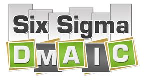 Six Sigma DMAIC Green Grey Squares Stripes. Six sigma - DMAIC text written over green grey background vector illustration