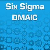 Six Sigma DMAIC Blue Gears Background. Six sigma - DMAIC text written over blue background royalty free illustration