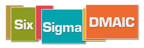 Six Sigma DMAIC Various Color Boxes. Six sigma - DMAIC text written over colorful background stock illustration