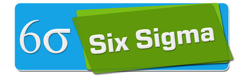 Six Sigma Green Blue Rotated Squares. Six sigma text with related symbol written over green blue background stock illustration
