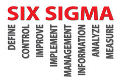 Six sigma. Illustration of six sigma, manufacturing and industrial quality control with words define, control, improve, implement, management, information royalty free illustration