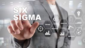 Six Sigma, manufacturing, quality control and industrial process improving concept. Business, internet and tehcnology. Six Sigma, manufacturing, quality control stock photography