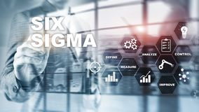 Six Sigma, manufacturing, quality control and industrial process improving concept. Business, internet and tehcnology. Six Sigma, manufacturing, quality control royalty free stock photo