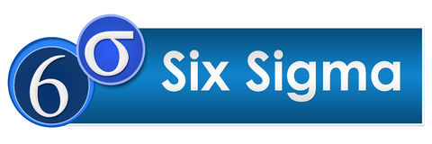 Six Sigma Two Blue Circles. Six sigma concept image with text and related symbols vector illustration