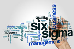 Six sigma word cloud. Concept on grey background royalty free stock photo