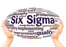Six Sigma word cloud hand sphere concept. Six Sigma - improve the quality, word cloud hand sphere concept on white background royalty free stock images