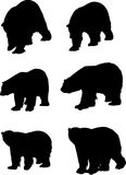 Six silhouettes of bears. Illustration with bear silhouettes isolated on white background Stock Photos