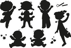 Six silhouettes of happy children royalty free stock photos