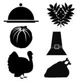 Six silhouettes for thanksgiving day Royalty Free Stock Photography