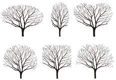 Six silhouettes of tree Royalty Free Stock Image