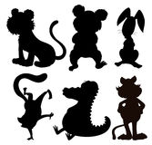 Six silhouettes of wild animals Stock Images
