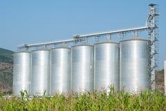 Six silos Photo libre de droits