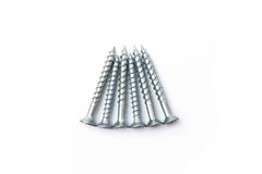 Six Silver Screws Stock Images