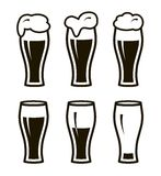 Six simple black icons of beer in glass Stock Image