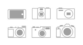 Six simple icons cameras Royalty Free Stock Image