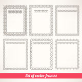 Six simple patterned frames Royalty Free Stock Images