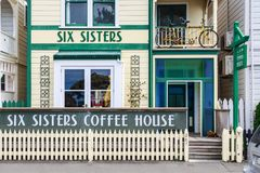 Napier, New Zealand. `Six Sisters` coffee house royalty free stock photography