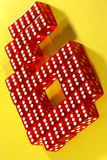 Six of sixes. The number six made out of red dices with six side up stock images