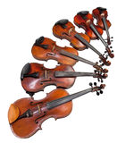 Six sizes of violins Royalty Free Stock Photography