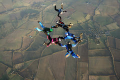 Six skydivers. Five skydivers doing formations high up in the air Royalty Free Stock Image