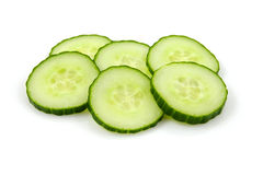Six slices of fresh cucumber Royalty Free Stock Images