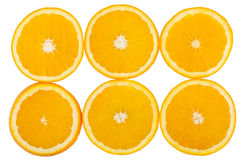 Six slices of oranges isolated on white Stock Photography