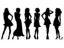 Six slim attractive women silhouettes Stock Photo