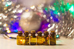 Six small bottles Stock Images