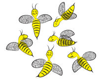 Six Smiling Happy Wasps. Illustration Clip Art of six smiling happy wasps in various flying poses Stock Photo