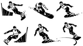 Six snowboarders compete in slalom. Hand drawn illustration. Isolated over white background Stock Photography
