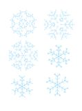 Six snowflakes. Six blue snowflakes different forms Royalty Free Illustration