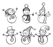 Six snowmen isolated on white background. Cute cartoon snowmen in vector for winter design. EPS 8 Royalty Free Stock Photo