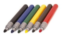 Six soft-tip pens Stock Image
