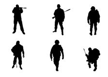 Six soldiers silhouettes. Vector illustration of a six soldiers silhouettes Royalty Free Stock Image