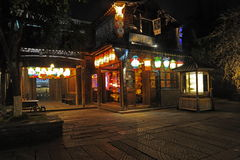----- Six southern town of Wuzhen Water Village alley the night Stock Photos