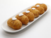 Six spanish croquettes with mayonnaise. Typical Tapa of Spanish Cuisine Royalty Free Stock Photos