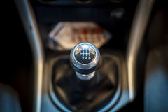 Six speed gear shift in car . Gear transmission. Electronic devices in the car stock images