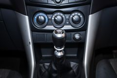 Six speed gear shift in car . Gear transmission. On tha car royalty free stock image