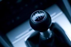 Six speed gear shifter in car Stock Images