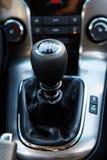 Six Speed Stick Shift Car Transmission. Stick Shift Driving. Modern Car Interior royalty free stock photos