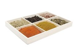 Six spices Royalty Free Stock Photos