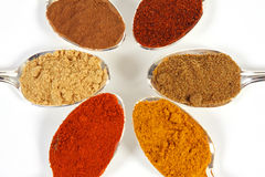 Six Spices Close-UP. Six different ground spice powders in silver spoons on a white background Royalty Free Stock Images